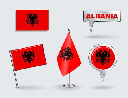 albanian: Set of Albanian pin, icon and map pointer flags.