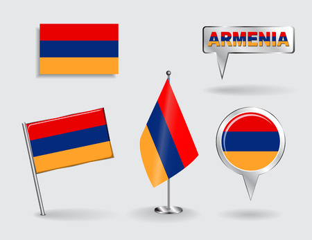 armenian: Set of Armenian pin, icon and map pointer flags.