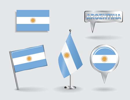 argentinean: Set of Argentinean pin, icon and map pointer flags. Vector