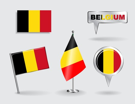 Set of Belgian pin, icon and map pointer flags.  Vector
