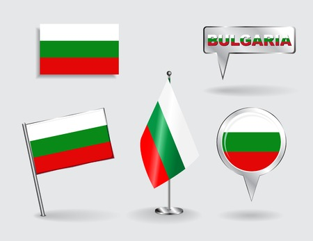 bulgarian: Set of Bulgarian pin, icon and map pointer flags.
