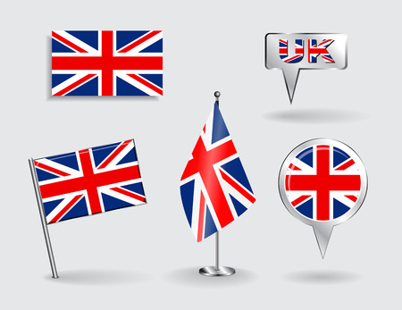 bandera uk: Conjunto de pines, iconos y mapa puntero británicos banderas. Vector