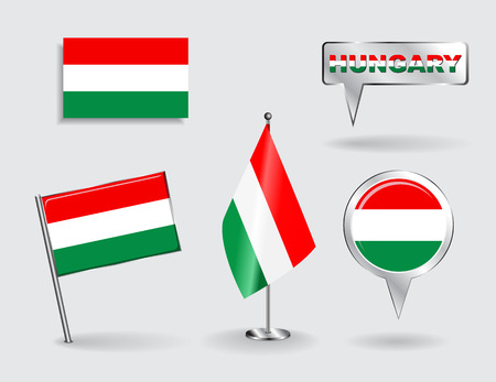 hungarian pointer: Set of Hungarian pin, icon and map pointer flags.