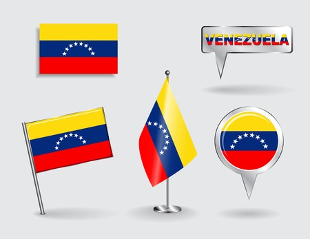venezuelan: Set of Venezuelan pin, icon and map pointer flags.  Illustration