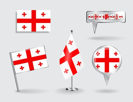 gürcü: Set of Georgian pin, icon and map pointer flags.