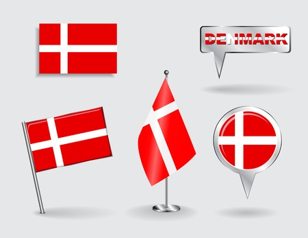 danish flag: Set of Danish pin, icon and map pointer flags.  Illustration