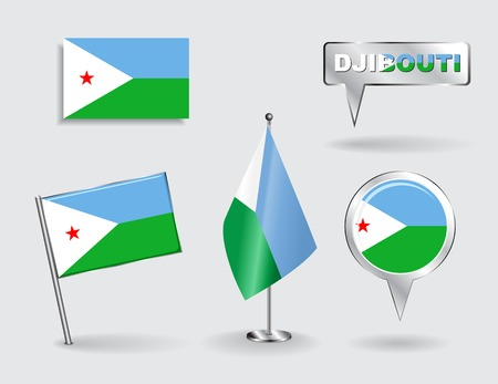 Set of Djibouti pin, icon and map pointer flags. Vector Vector