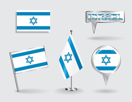 israeli: Set of Israeli pin, icon and map pointer flags. Vector
