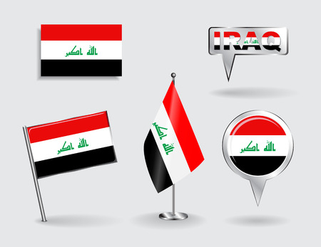iraqi: Set of Iraqi pin, icon and map pointer flags.