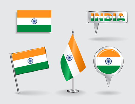 flag icons: Set of Indian pin, icon and map pointer flags. Vector