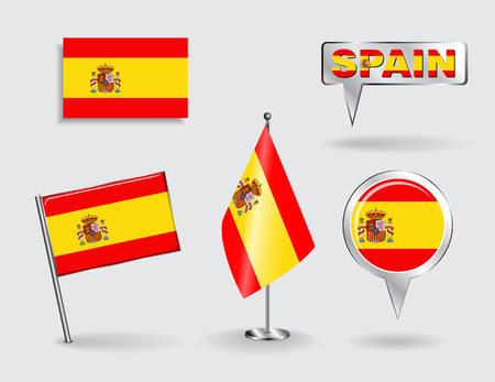 push pin icon: Set of Spanish pin, icon and map pointer flags. Vector