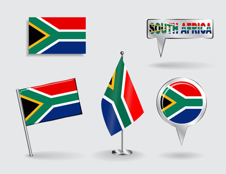 south african: Set of South African pin, icon and map pointer flags. Vector
