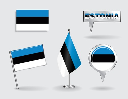 estonian: Set of Estonian pin, icon and map pointer flags. Vector