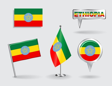 ethiopian: Set of Ethiopian pin, icon and map pointer flags. Vector
