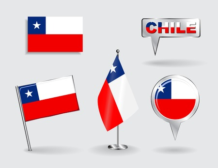 chilean: Set of Chilean pin, icon and map pointer flags. Vector Illustration