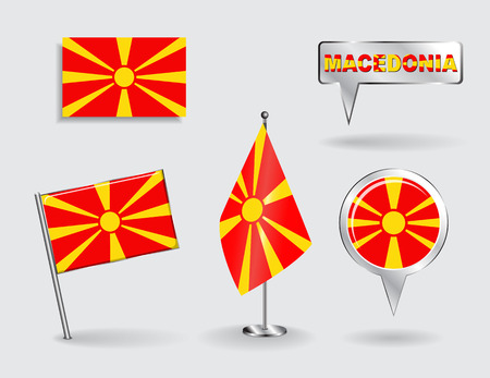 macedonian flag: Set of Macedonian pin, icon and map pointer flags. Vector Illustration