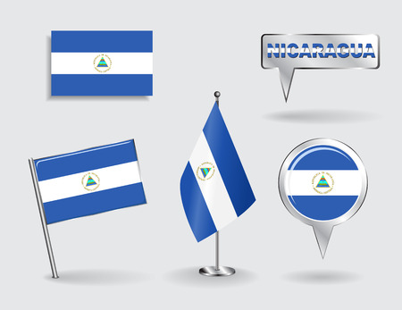 nicaraguan: Set of Nicaraguan pin, icon and map pointer flags. Vector