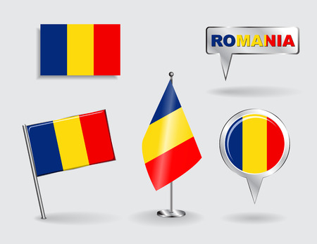 romanian: Set of Romanian pin, icon and map pointer flags. Vector