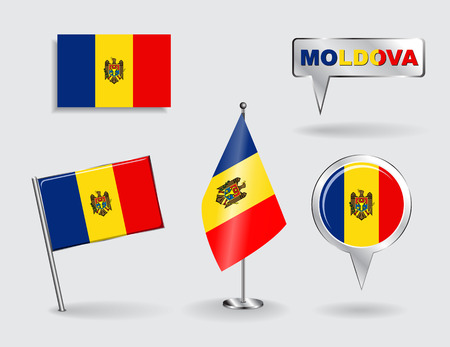 moldovan: Set of Moldovan pin, icon and map pointer flags. Vector Illustration