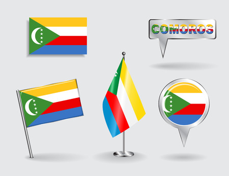 comoros: Set of Comoros pin, icon and map pointer flags. Vector Vectores