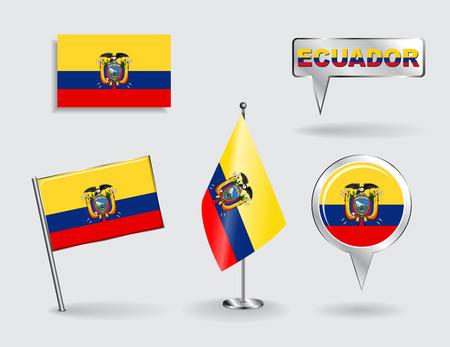 ecuadorian: Set of Ecuadorian pin, icon and map pointer flags. Vector
