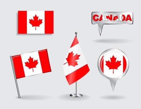 map of canada: Set of Canadian pin, icon and map pointer flags. Vector