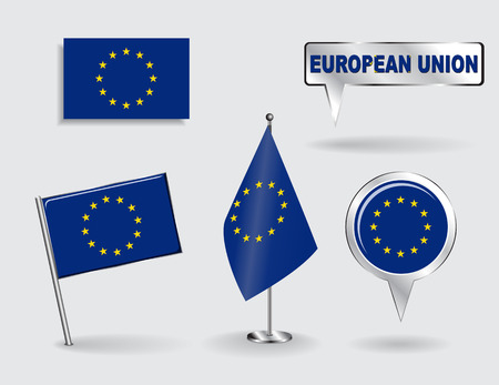 Set of European Union pin, icon and map pointer flags. Vector illustration. Vector