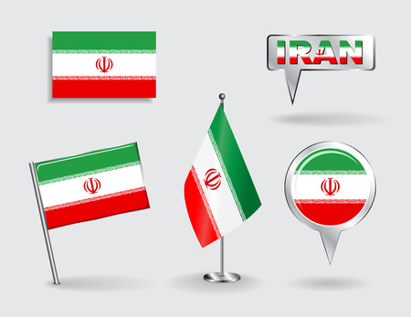 iranian: Set of Iranian pin, icon and map pointer flags. Vector illustration.