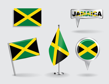 jamaican: Set of Jamaican pin, icon and map pointer flags. Vector illustration. Illustration