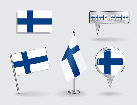 suomi: Set of Finnish pin, icon and map pointer flags. Vector illustration.