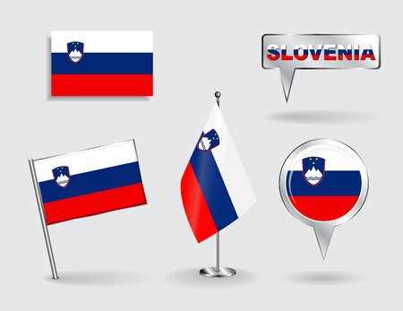 Set of Slovenian pin, icon and map pointer flags. Vector illustration. Vector