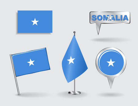 somalian: Set of Somalian pin, icon and map pointer flags. Vector illustration.