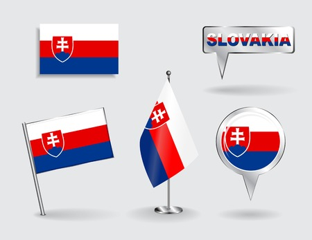 slovakian: Set of Slovakian pin, icon and map pointer flags. Vector illustration.