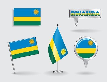 Set of Rwandan pin, icon and map pointer flags. Vector illustration. Vector