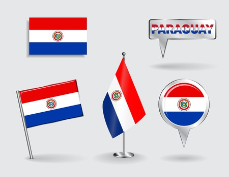 paraguayan: Set of Paraguayan pin, icon and map pointer flags. Vector illustration.