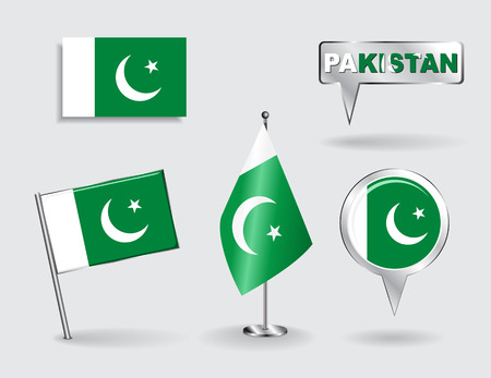 pakistani: Set of Pakistani pin, icon and map pointer flags. Vector illustration.