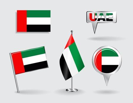 bandiera: Set di Emirati Arabi Uniti pin, icona e mappare le bandiere del puntatore. Illustrazione vettoriale.