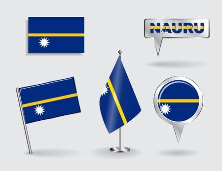 nauru: Set of Nauru pin, icon and map pointer flags. Vector illustration.