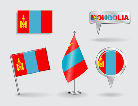 Set of Mongolian pin, icon and map pointer flags. Vector illustration. Vector