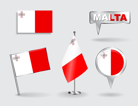 maltese map: Set of Maltese pin, icon and map pointer flags. Vector illustration. Illustration