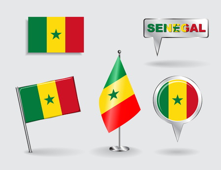 senegalese: Set of Senegalese pin, icon and map pointer flags. Vector illustration.
