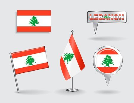 lebanese: Set of Lebanese pin, icon and map pointer flags. Vector illustration. Illustration