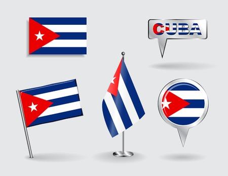 cubana: Conjunto de pines, iconos y mapa puntero banderas cubanas. Ilustraci�n del vector. Vectores