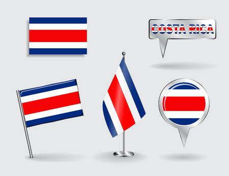 rican: Conjunto de pines, iconos y mapa puntero banderas de Costa Rica. Ilustraci�n del vector.