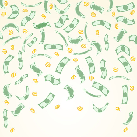 money savings: Background with money falling from above. Illustration