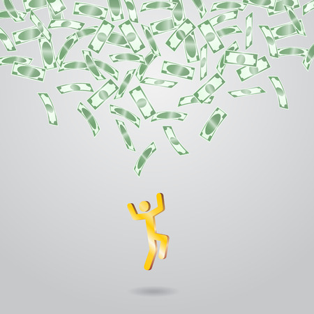 Background with money falling from above. Vector