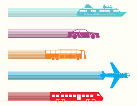 passenger buses: Diferentes tipos de transporte. Ilustración vectorial Vectores