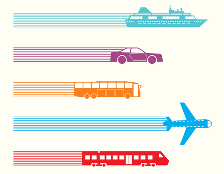 transportation silhouette: Different kinds of transport. Vector illustration