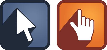 cursors: Set of hand and arrow cursors. Vector Illustration
