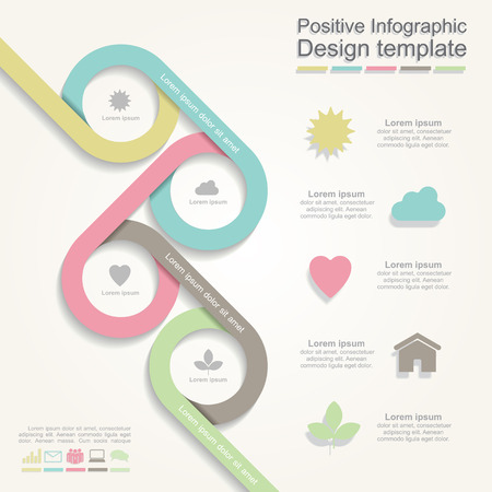 information technology: Infographic report template with lines and icons. Vector illustration